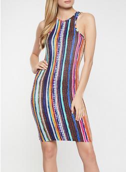 Vertical Stripe Racerback Tank Dress - 1094038340952