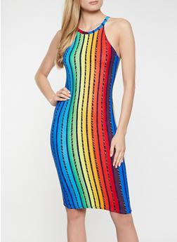 Vertical Stripe High Neck Dress - 1094038340960