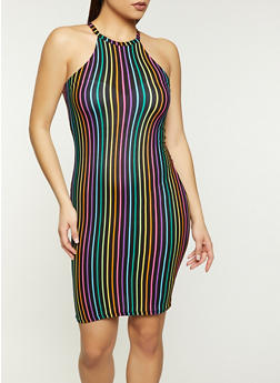 Striped High Neck Tank Dress - 1094038340962