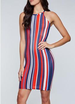 High Neck Striped Tank Dress - 1094038340963