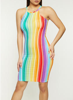 Rainbow Striped High Neck Tank Dress - 1094038340964