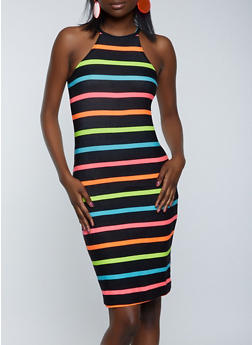High Neck Neon Stripe Dress - 1094038340965