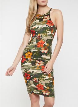 Camo Floral High Neck Dress - 1094038340970