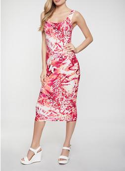 Printed Scoop Neck Tank Dress - 1094038340987