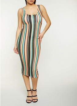 Striped Tank Dress - 1094038340988