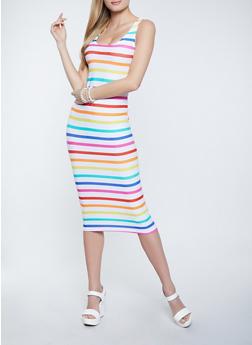 Multi Stripe Soft Knit Midi Tank Dress - 1094038340989