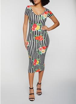 Slashed Back Floral Striped Dress - 1094038340996