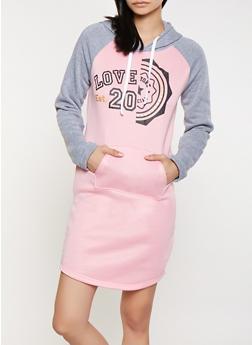 Love Graphic Sweatshirt Dress - 1094038343910