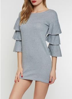 Tiered Sleeve Sweatshirt Dress - 1094038343920
