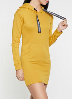 French Terry Lined Hooded Sweatshirt Dress - 1094038343921