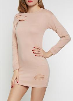 Distressed Sweatshirt Dress - 1094038343922