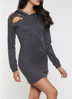 Distressed Sweatshirt Dress - 1094038343923