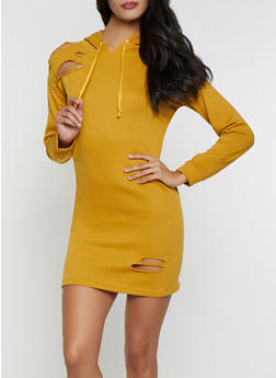 Distressed Sweatshirt Dress - 1094038343923