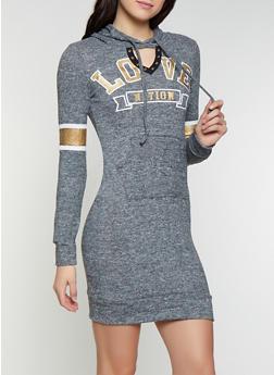 Love Keyhole Hooded Sweatshirt Dress - 1094038343930