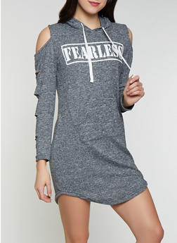 Fearless Graphic Cold Shoulder Sweatshirt Dress - 1094038343931