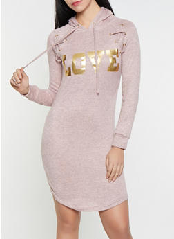 Love Foil Graphic Knit Sweatshirt Dress - 1094038343933