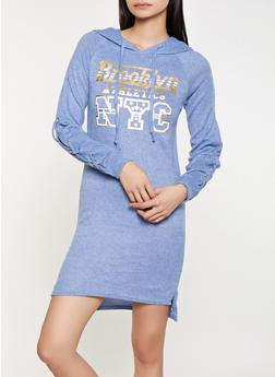 Brooklyn NYC Hooded Sweatshirt Dress - 1094038343934