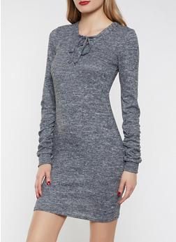 Lace Up Brushed Knit Sweater Dress - 1094038343935