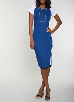Color Block T Shirt Dress with Necklace - 1094038347002