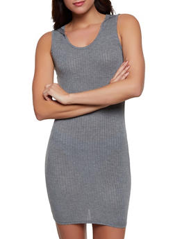 Hooded Rib Knit Tank Dress - 1094038347718