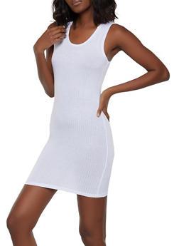 Hooded Rib Knit Tank Dress - 1094038347718