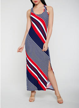 Striped Maxi Racerback Tank Dress - 1094038347906