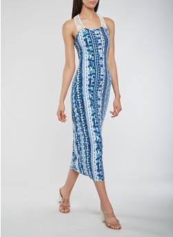 Printed Crochet Trim Tank Dress - 1094038347920