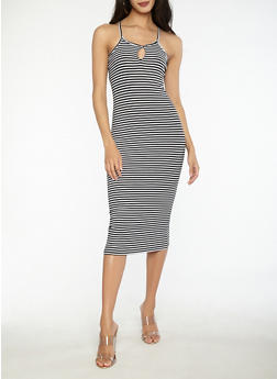 Striped Midi Tank Dress - 1094038348700