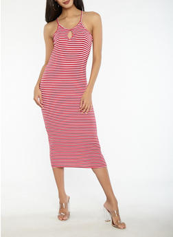 Striped Keyhole Bodycon Dress - 1094038348700