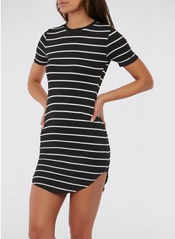 Striped Rib Knit T Shirt Dress - BLACK/WHITE - 1094038348701