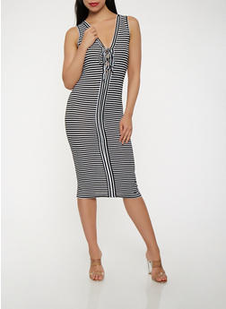 Striped Rib Knit Lace Up Tank Dress - 1094038348702