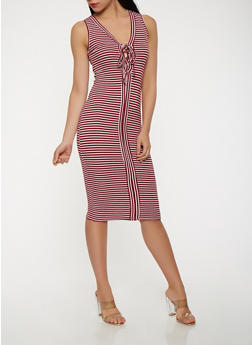 Striped Rib Knit Lace Up Tank Dress - 1094038348702