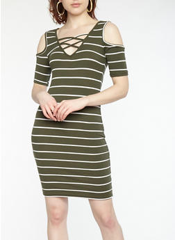 Striped Cold Shoulder Bodycon Dress - 1094038348704
