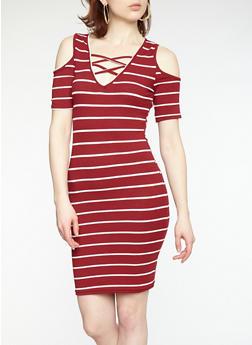 Striped Cold Shoulder Bodycon Dress - 1094038348704