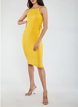 Rib Knit Lace Up Side Tank Dress - 1094038348710