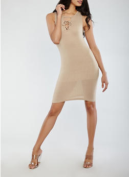 Rib Knit Lace Up Tank Dress - 1094038348711
