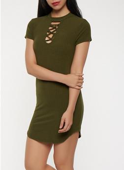 Lace Up Rib Knit Dress - 1094038348714