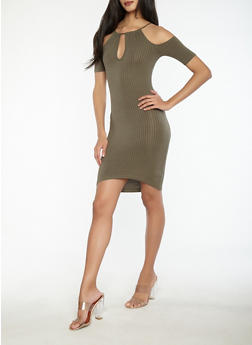 Cold Shoulder Ribbed Knit Keyhole Dress - 1094038348715