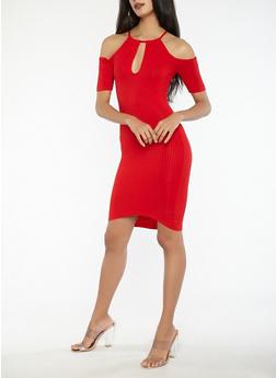 Cold Shoulder Ribbed Knit Keyhole Dress - 1094038348715