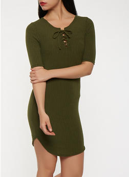 Rib Knit Lace Up Bodycon Dress - 1094038348719