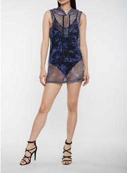 Fishnet Hooded Tank Dress - 1094038348778