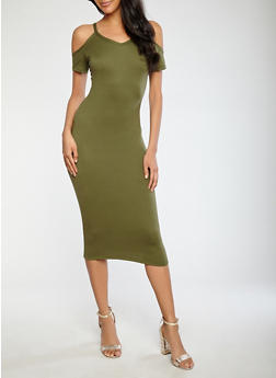 Soft Knit Cold Shoulder Bodycon Dress - 1094038348814