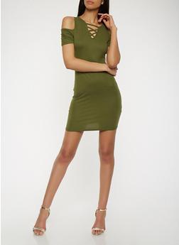 Lace Up Cold Shoulder Bodycon Dress - 1094038348818