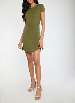 Soft Knit Lace Up Hem T Shirt Dress - 1094038348819