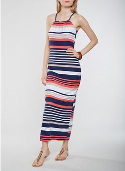 Striped Maxi Tank Dress - 1094038348850