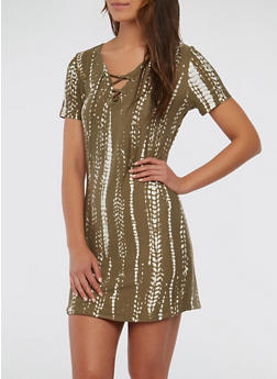Printed Lace Up T Shirt Dress - 1094038348851