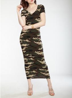 Camouflage Print Slashed Back Dress - 1094038348855