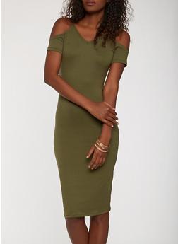 Soft Knit Striped Cold Shoulder Dress - 1094038348857