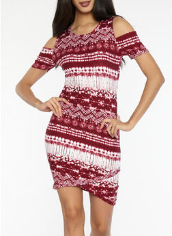 Printed Soft Knit Cold Shoulder Dress - 1094038348858