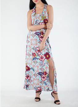 Cinched Waist Floral Maxi Dress - 1094038348892
